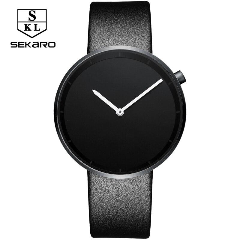 SEKARO 2017 men unisex stainless steel genuine leather strap minimalist fashion casual business dress quartz watches for women<br>