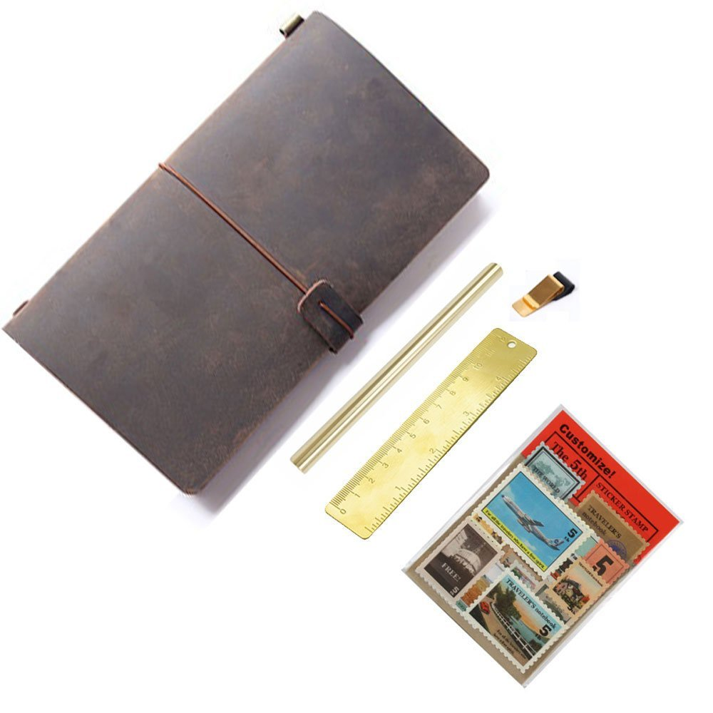 Vintage Handmade Refillable Journals Diary genuine leather notebook diary notepad Travelers Notebook travels (12x21cm) pack set<br>
