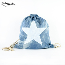 Rdywbu Women Big Star Printed Drawstring Backpack Vintage Navy Blue Girl School Bagpack Mochila Feminina Travel Sack Bag B406(China)