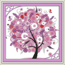 Modern style DIY home decoration Innovative items unfinished cross-stitching set precise printed embroidery - Happy tree (3)