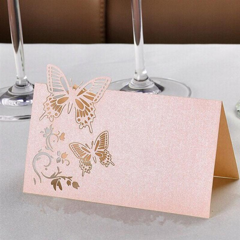 50PCS Hollow Butterfly Style Wedding Laser Cut Decor Table Cards Place Setting Name Card For Wine Glass (Pink)(China)