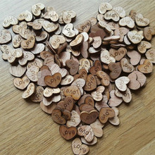 100pcs Rustic Wooden Wood Love Heart 12*15mm Wedding Table Scatter Decoration Crafts NATURAL WOOD COLOR