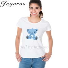 Babaseal Blue Teddy Bear Fashion Brand Women Shirt Hipster Off White Tees Pink Graphic T Shirts Summer Casual Letter T Shirt(China)
