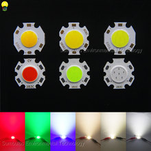 10pcs/lot 2011 3W 5W 7W Rounded LED COB Light Source Chip On Board For Spotlight Downlight Red Blue Green White 20mm