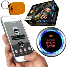 gsm&gps rfid car alarm with engine start stop button remote start stop working with original car key remote wholesale price(China)