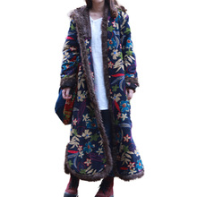 Single Breasted Autumn Winter Jacket Floral Chinese Style Cotton Padded Trench Coat Hooded Women Jacket Quilted Long Windbreaker(China)