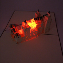 3D Neuschwanstein Castle Building Laser Cut Pop Up Greeting Card Postcard Birthday Music LED Lighting Handmade Paper Cards Craft