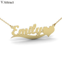 V Attract Letter Charm Custom Name Heart Necklace Women Men Personalized Jewelry Love Customized Choker Stainless Steel Collier