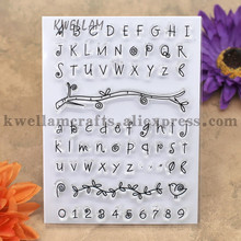 English Alphabet Number Leaves Scrapbook DIY photo cards account rubber stamp clear stamp transparent stamp 10x13.5cm KW7030135(China)