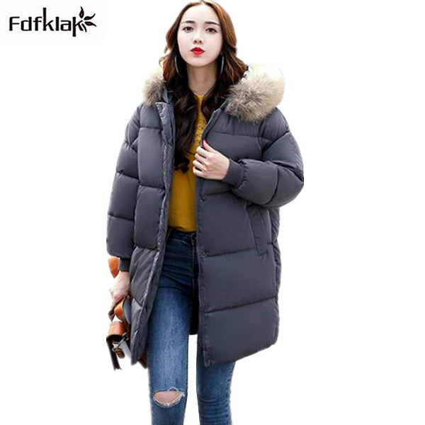 Fdfklak Thicken Winter Jacket Women Large Size Loose Winter Coat Cotton-padded Parka Female Warm Hooded Long Womens Jackets  Îäåæäà è àêñåññóàðû<br><br>