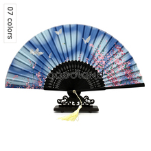 Free Shipping 1pcs Flower Blossoms Bamboo Asian Pocket Fan Christmas Gift Party Decoration Decoracion(China)