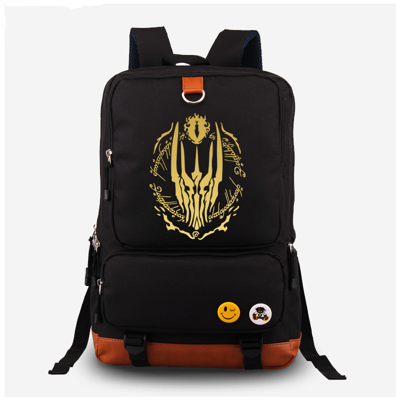 2017 The Hobbit The Lord of the Rings Eye of Sauron Gilding Printing Women Laptop Canvas Backpack Mochila Escolar school Bags<br>