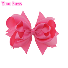 Your Bows 1PC 5 inches Kids Hair Bows 3 Layers Solid Hot Pink Bows Hair Clips Boutique Ribbon Bows For Girls Hair Accessories(China)