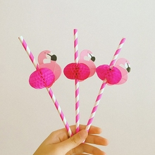25PCS Cute Cartoon Hot Pink Honeycomb flamingos Colorful Stripe Paper Drinking Straw Bird Stick For Weddings Party Decoration(China)