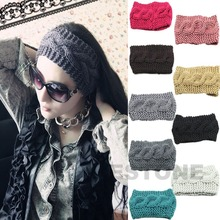 9 Colors Crochet Headband Knit Hairband Flower Winter Women Ear Warmer Headwrap