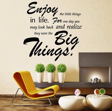 ZN Vinyl Wall sticker Quote Enjoy the little thing Home Living room Decorative wall art Decals(China)