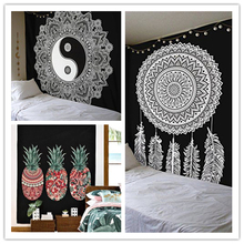 Feather Pineapple Mandala Printed Tapestry Wall Cloth Wall Hanging Tapestries Sheet Sofa Cover Blanket Decoration Towel