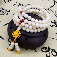 12mm Tibetan Buddhism 108 White Bodhi Root Prayer Beads Mala Necklace