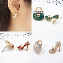 Fashion Cute Bag Heel Shoe Asymmetric Earrings Jewelry for Women Party Prom Gift