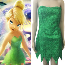 Adult Women Tinker Bell Cosplay Tinkerbell Dress Green Fairy Pixie Cosplay Costume Wigs(China)