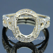Wholesale - Jewelry 11x9mm Oval Solid 14K Yellow Gold Engagement Wedding . Semi Mount Ring Set