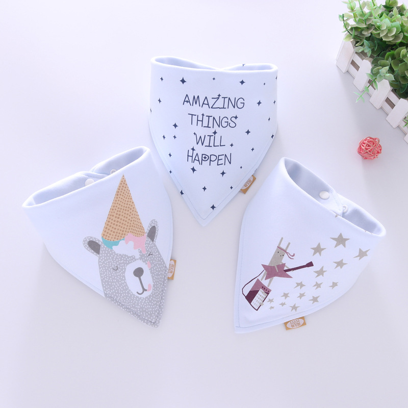 Cotton Bandana Bibs Baby Babador Feeding Smock Infant Burp Cloths Cartoon Saliva Towel Baby Eating Accessory Soft Baby Stuff(China)