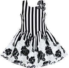 Sunny Fashion Girls Dress Sleeveless Black White Stripes Flower Bow Tie Cotton 2018 Summer Princess Wedding Party Size 7-14(China)