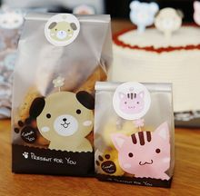24pcs/lot 2 size pink cat and yellow dog plastic bags packaging bags pouches wrappers cupcake(China)