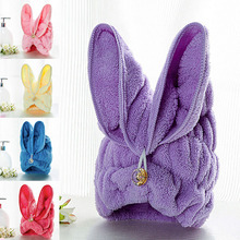 1PC Microfiber Hair Turban Quickly Dry Hair Hat Wrapped Towel Bath With Cute Rabbit Ears bathroom accessories s3