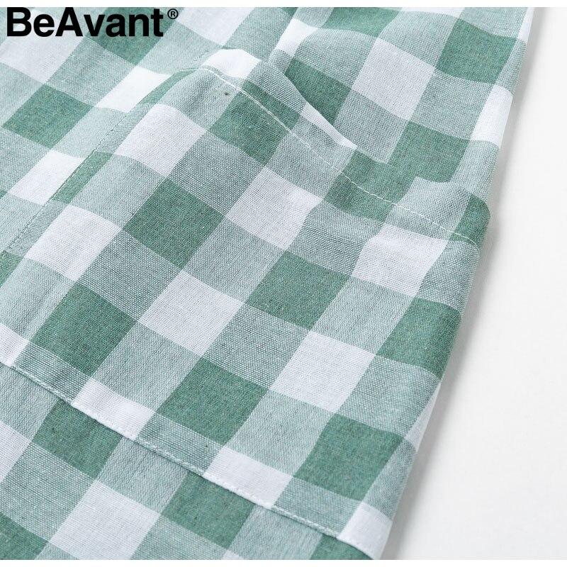 d674c2529d3 BeAvant Casual Green Plaid Summer Dress Women Button Pocket Cotton ...