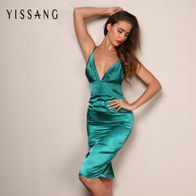 Buy Yissang sexy satin dress 2017 summer solid nightclub V-neck strap backless slim women bodycon dresses vestidos drop for $17.73 in AliExpress store