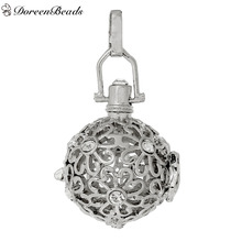 DoreenBeads Copper Wish Box Pendants Hollow Flower Clear Rhinestone Can Open (Fit Bead Size: 20mm) 49mm x 29mm, 1 PC