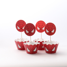 24pcs/lot Spiderman Party Paper Cupcake Wrappers Toppers For Kids Party Birthday Decoration Cake Cups(12 wraps+12 topper)