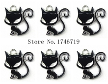 Hot Sale 10pcs Cartoon Black Cat Metal Charms DIY Jewelry Making Mobile Phone Accessories For Best Gift D-134(China)