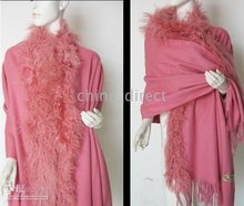 wrap Scarves 2016 ponchos wool scarf shawl cool wraps shawls new fur fringed wool(China)