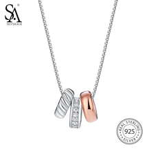 SA SILVERAGE 2017 Women Rose Gold Pendant Necklace Fine Jewelry Real 925 Sterling Silver Diamond Necklaces for Women