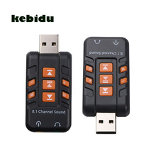 kebidu 1pcs USB Audio External USB Sound Card 8.1 Channel Adapter Headset Microphone 3.5mm Jack For Win XP/7/8 Android Linux(China)