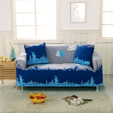 Grey And Blue Universal Stretch Sofa Covers Cloud Pattern Printed Corner Sofa Slipcover Multi-size Sectional Sofa Covers Elastic
