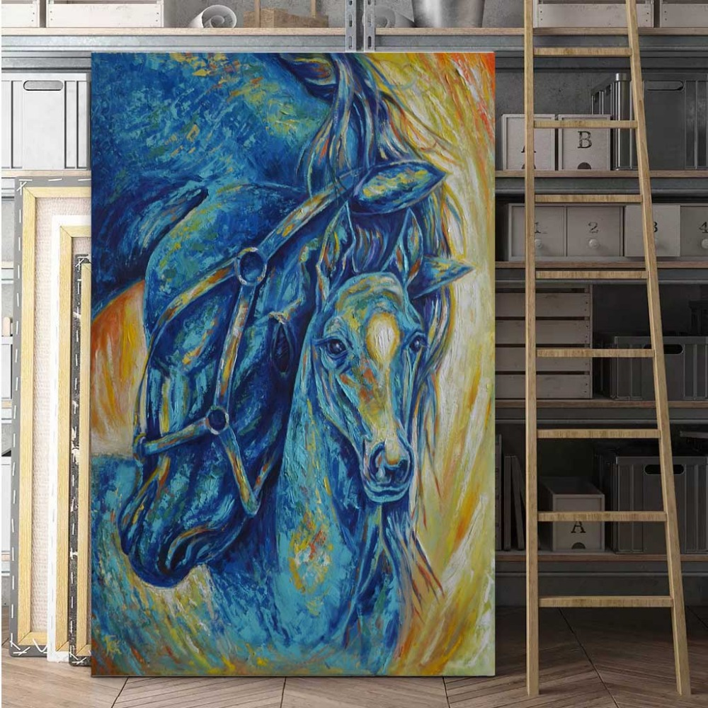 Horse painting Modern wall canvas Large art Horse lover