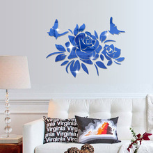 [Fundecor] 3D peony mirror wall sticker home decor living room bedroom art decal flowers Acrylic kitchen quote Sticker Bathroom(China)