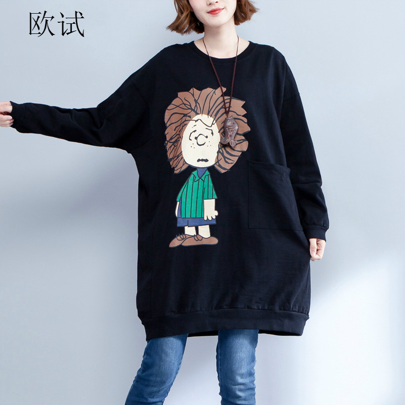 2018 New 5XL 6XL Autumn Long Sweatshirt Women Clothing Kawaii Cartoon Printed Pullover Big Size Womens Hoodies Plus Size Tops