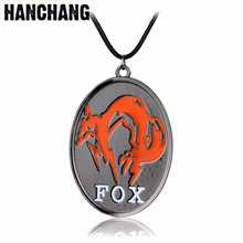 Dropshipping Gear Solid 5 Pokemon Shadow Pain Fox Logo Necklace Rope Chain Dog Tag Necklace Game Jewelry Men