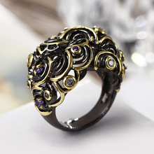 Trending New Luxury Black Gold-color Jewelry Purple and Clear Cubic Zirconia Special Rings Famous Brand Rings for women 2017(Hong Kong)