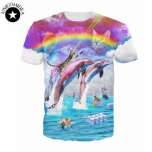 2017 Rainbow Dolphin T-Shirt 3d printed cats dolphins rainbows Bud-Light vibrant tee Summer Style Women/Men t shirt  tops