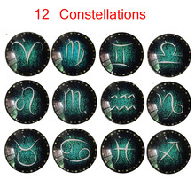 12 Constellations Glass Glue Sign Pattern Dome Glass Fridge Magnet(China)