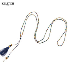 KELITCH Jewelry Classic Dark Blue Tassel Pendant Necklaces Blue Seed Bead Wrap Bracelets Charm Tiny Chain Long Choker Necklaces(China)