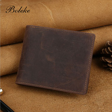 Men Short Bifold Wallet with Detachable Card Holder Vintage Crazy Horse Genuine Leather Purse Removable Card Slot Clutch 4043