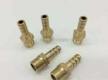 "free shipping copper fitting 6mm/ 8mm/10mm/12mm Hose Barb x 1/4"" inch male BSP Brass Barbed Fitting Coupler Connector Adapter"