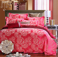 4pcs bedding set wedding A/B side bed set tribute silk bed linens red tencel jacquard silk king/queen size duvet cover set/5081(China)