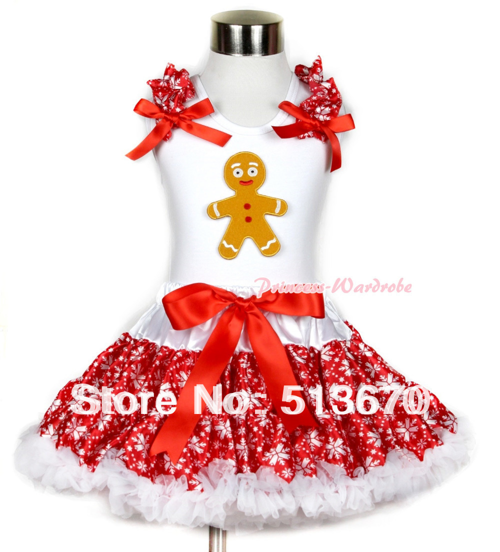 Xmas White Tank Top with Brown Gingerbread Man Print with Red Snowflakes Ruffles &amp; Red Bow &amp; Red Snowflakes Pettiskirt MAMG718<br>